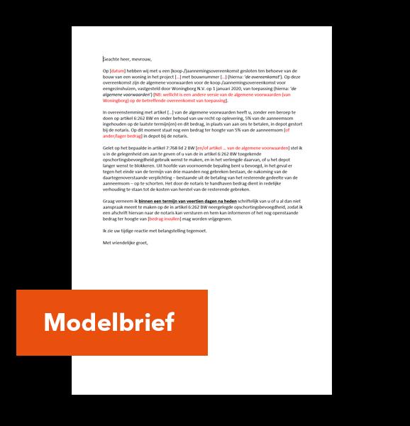 Modelbrief-depot-vrijgave